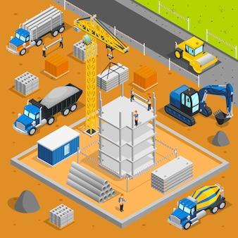 Área de construcción composición isométrica