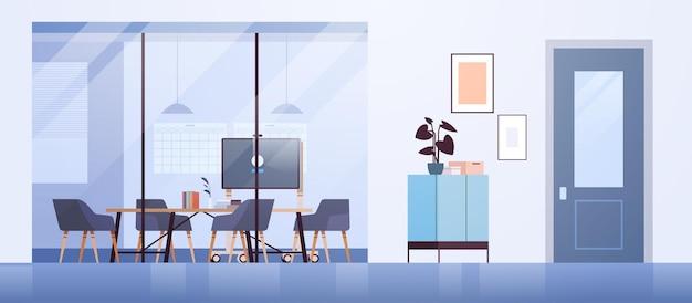 Área de coworking moderno interior de la oficina vacío sin personas espacio abierto sala de gabinete con muebles ilustración vectorial horizontal