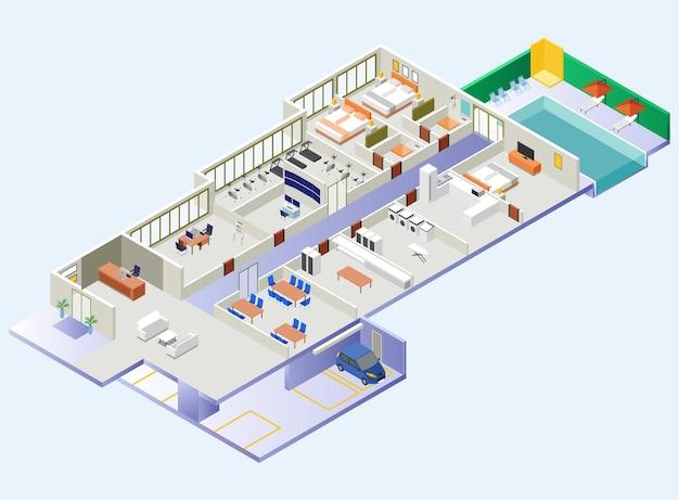 Área del edificio del hotel y muestra de habitaciones y espacios desde el interior