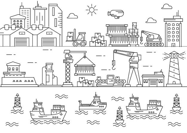 Área de la industria del puerto marítimo de arte lineal