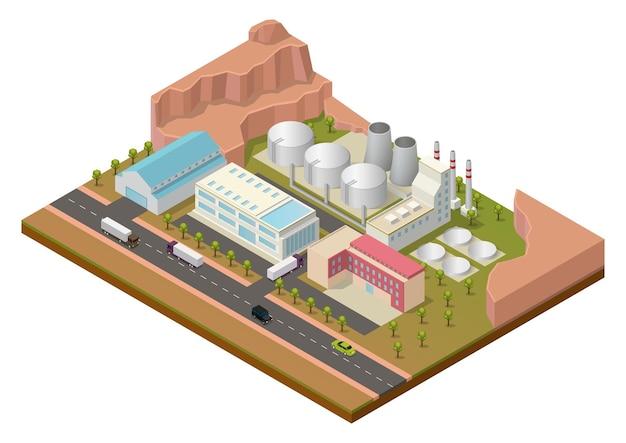 Área industrial isométrica con edificios y autopista.