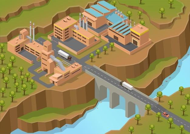 Área industrial isométrica con gran río y camión en el puente.