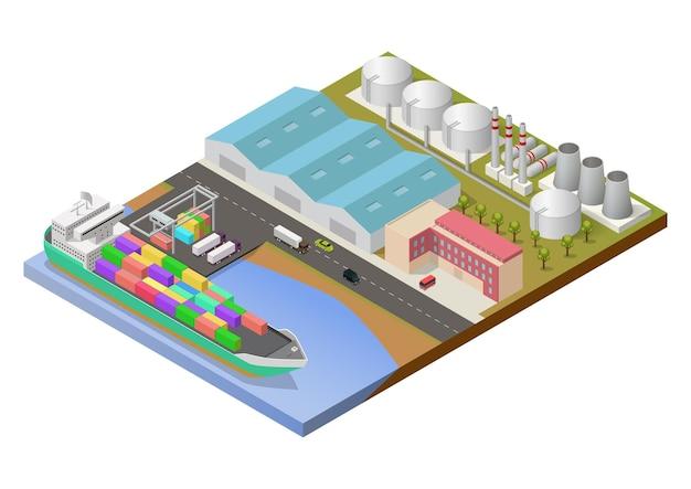 Área industrial isométrica con puerto y buque de carga.