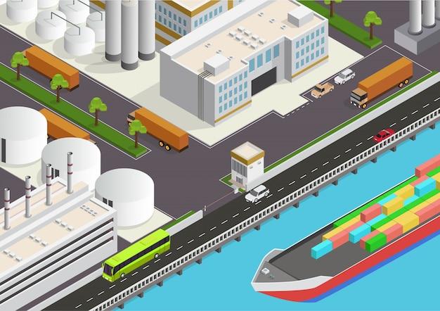 Área industrial isométrica con vista al mar y al buque de carga