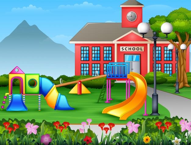 Área de juegos para niños en el patio de la escuela.
