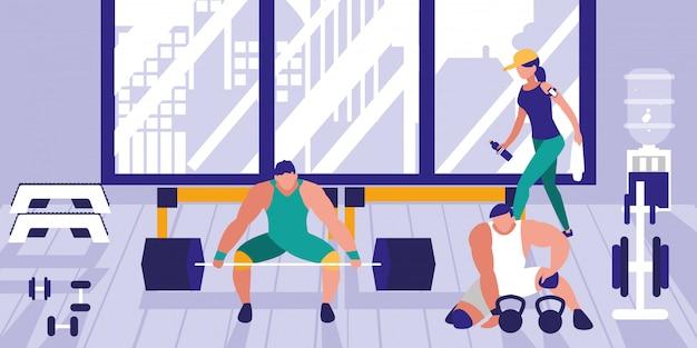 Área para levantamiento de pesas en gimnasio deportivo