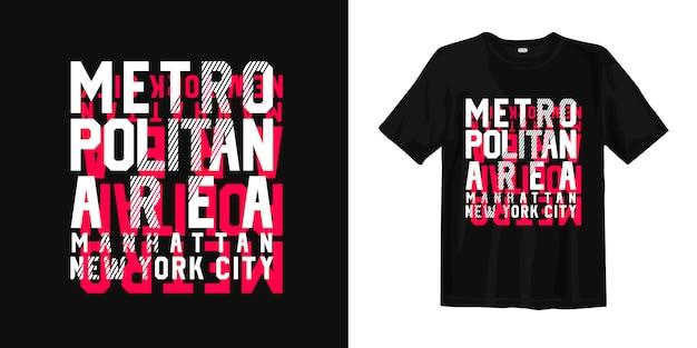 Área metropolitana, camiseta de la tipografía de manhattan, nueva york