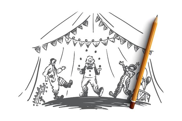 Arena, circo, payaso, espectáculo concepto. payasos dibujados a mano hacen malabares con el boceto del concepto de espectáculo.