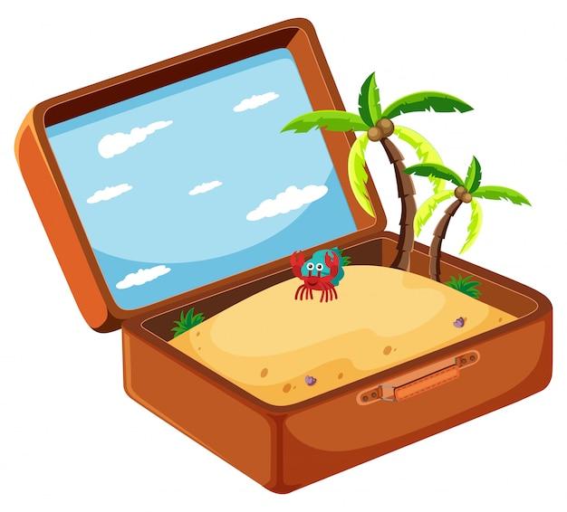 Arena en concepto de maleta