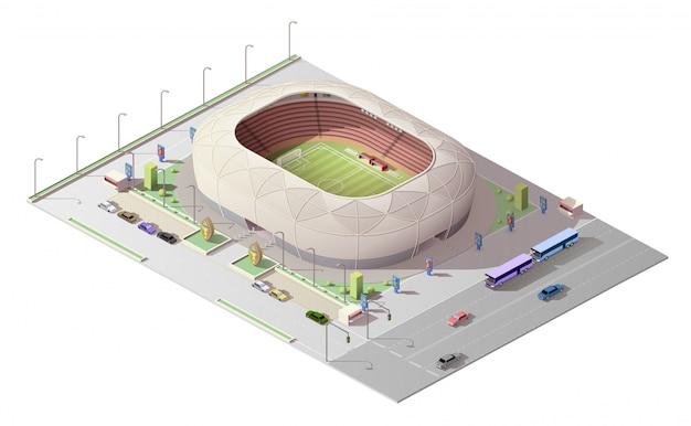 Arena deportiva isométrica con tribunas