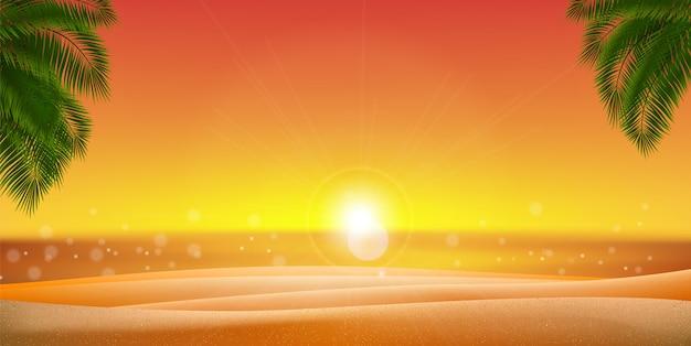 Arena dorada hojas de palmera con puesta de sol, amanecer y mar, océano