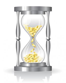 Arena-vidrio con monedas