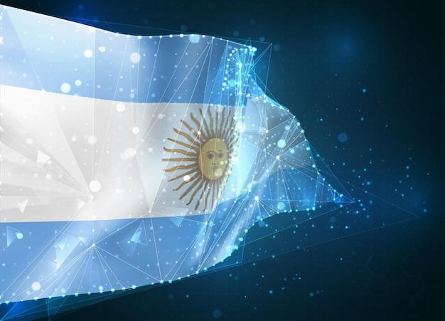 Argentina, bandera, objeto virtual abstracto 3d de polígonos triangulares sobre un fondo azul.