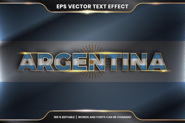 Argentina con su bandera nacional del país, efecto de texto editable con concepto de color dorado
