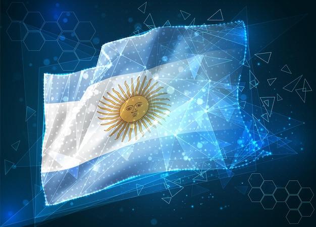 Argentina, vector bandera, objeto virtual abstracto 3d de polígonos triangulares sobre un fondo azul.