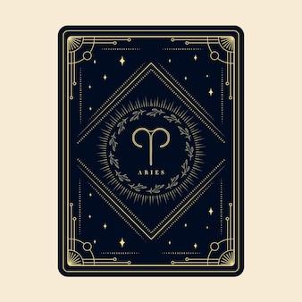Aries signos del zodíaco tarjetas del horóscopo constelación estrellas tarjeta decorativa del zodíaco marco decorativo