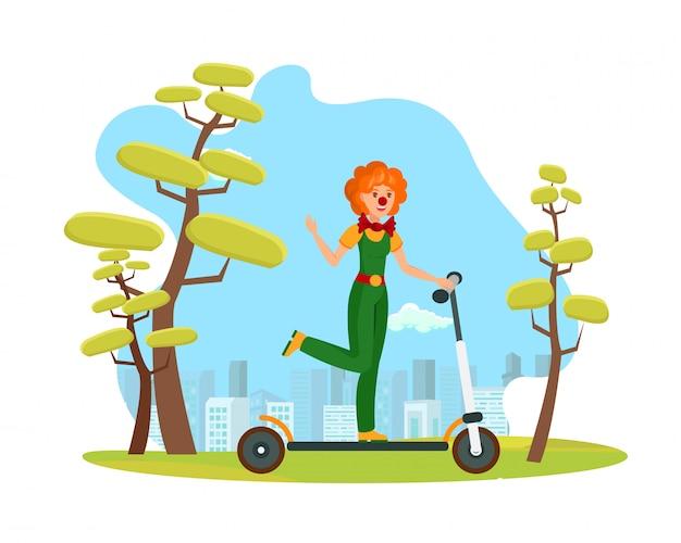 Arlequín sonriente montar scooter ilustración plana