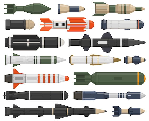 Arma de cohete militar armas balísticas bombas aéreas nucleares misiles de crucero cargas de profundidad vector