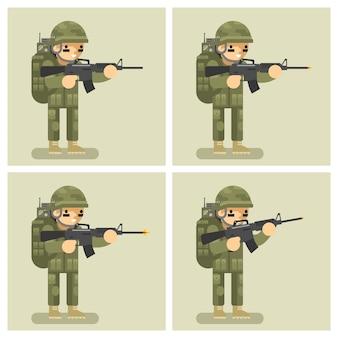Arma de tiro de animación de diseño plano de soldado. orden de movimiento de acto, automático y tirador, asalto o ataque, guerrero uniforme