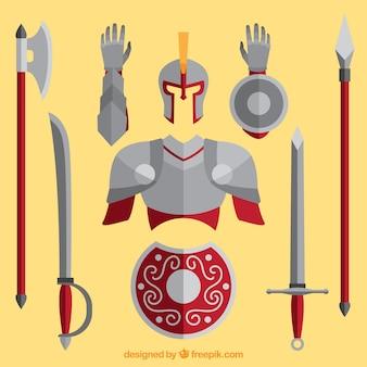 Armadura y armas de caballero con diseño plano