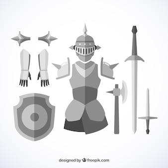 Armadura y espadas medievales con diseño plano