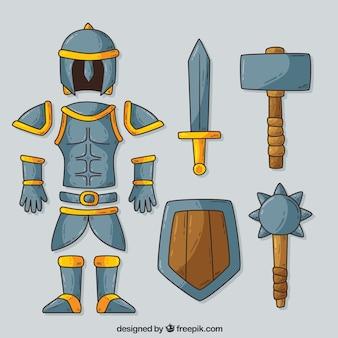Armadura medieval con estilo de dibujo a mano