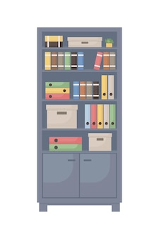 Armario de oficina con documentos objeto vectorial de color semi plano