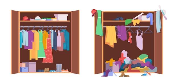 Armario de ropa desordenado. almacenamiento interior moderno con apertura y armario organizado cerrado conjunto de vectores. ropa de armario, ropa desordenada en la ilustración de armario