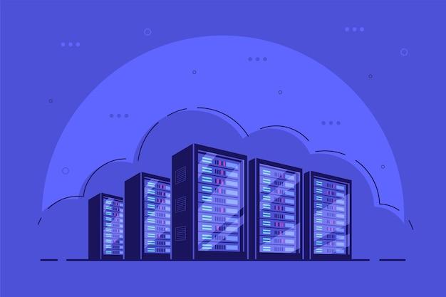 Armarios de servidores de servidores en funcionamiento. almacenamiento de datos, almacenamiento en la nube, centro de datos.
