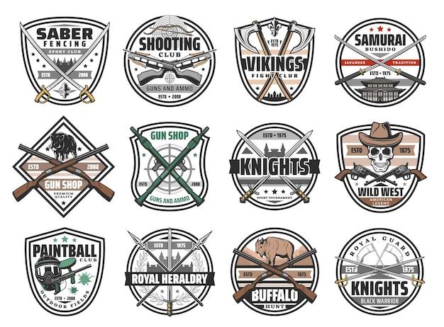 Armas, armas de batalla e iconos vectoriales de munición de caza