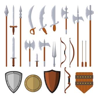 Las armas medievales establecen elementos de diseño aislados en la ilustración plana de fondo blanco