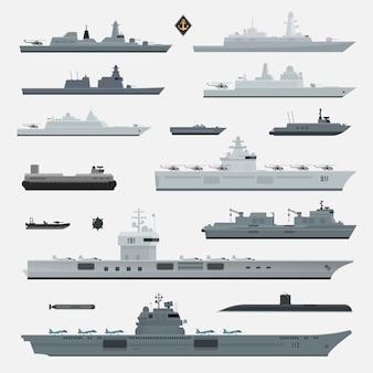Armas militares de acorazado naval. ilustración.