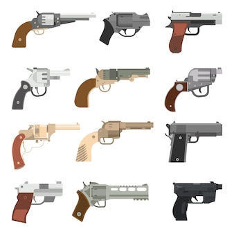 Armas vector colección de pistolas.