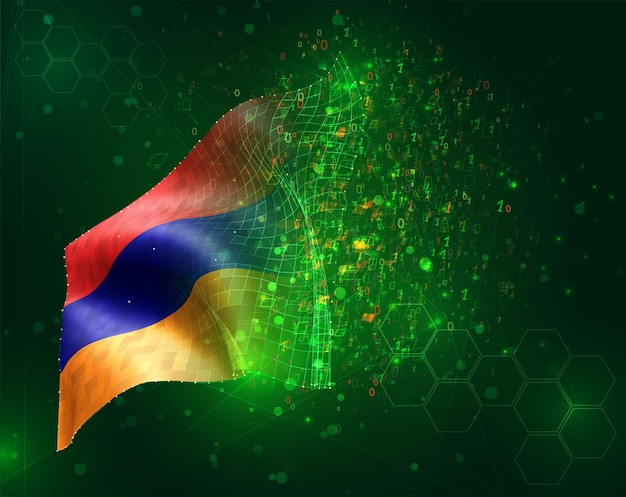 Armenia, vector bandera 3d sobre fondo verde con polígonos y números de datos