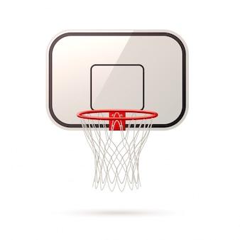 Aro y canasta de tablero de baloncesto realista vector