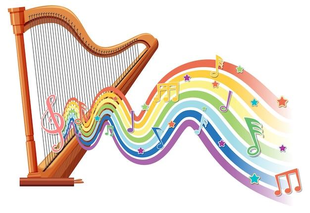 Arpa con símbolos de melodía en la onda del arco iris