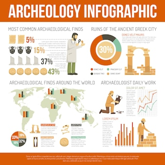 Arqueología infografía ilustración