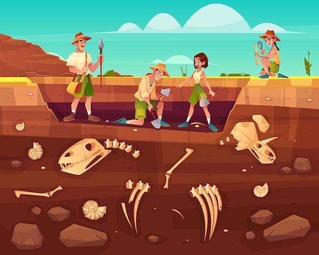 Arqueólogos, científicos de paleontología trabajando en excavaciones.