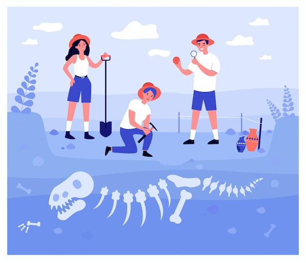 Arqueólogos felices excavando huesos de dinosaurios en capas de suelo