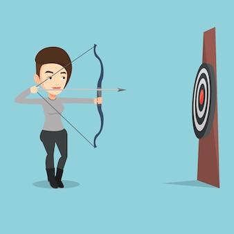 Arquero apuntando con arco y flecha al objetivo.