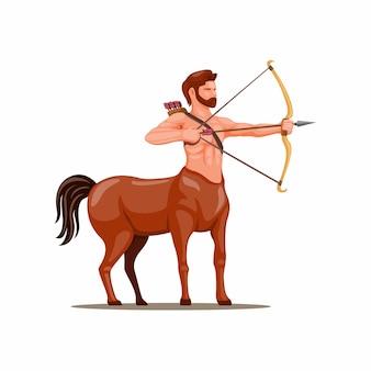 Arquero centauro. símbolo de criatura mítica para el concepto de personaje del zodíaco sagitario en la ilustración de dibujos animados