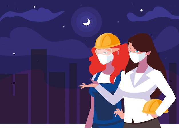 Arquitecto y constructor mujer con máscara y casco en la noche de diseño vectorial