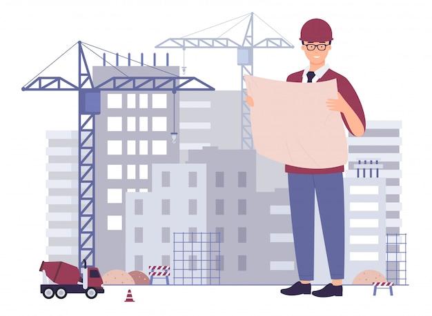 El arquitecto creativo masculino sonriente ingeniero civil técnico técnico constructor trabajador capataz mantener plan de papel del proyecto, comprobar inspeccionar supervisar edificio en construcción, ilustración de dibujos animados.