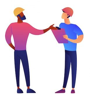 Arquitecto e ingeniero en casco de construcción discutiendo ilustración vectorial.