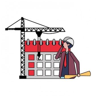 Arquitecto hombre calendario laboral dia