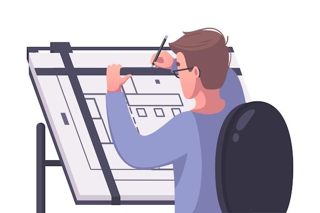Arquitecto masculino dibujo dibujos animados de plan de casa