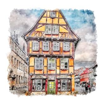 Arquitectura alemania acuarela dibujo dibujado a mano ilustración