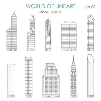 Arquitectura ciudad rascacielos al conjunto de estilo lineart. colección world of line art.