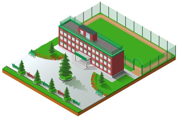 Arquitectura del edificio escolar y estadio isométrico de la escuela