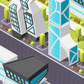 Arquitectura futurista isométrica